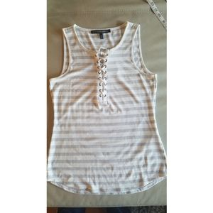 WHBM Jersey grey and white lace up detail top
